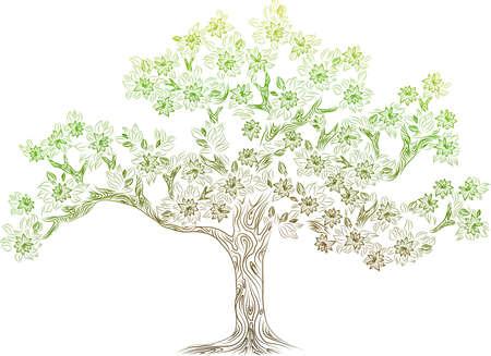 summer trees: vector con flowes Vectores