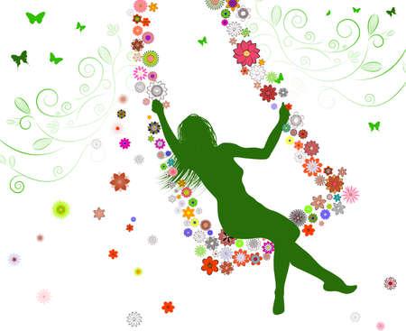 girl on swing: Spring girl on swing