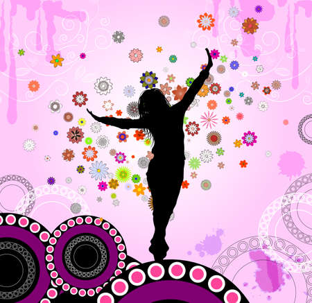 abstraction with a dancing girl  Vector