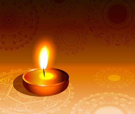 oil lamp: Vector rangoli diwali colorful festival background  Illustration