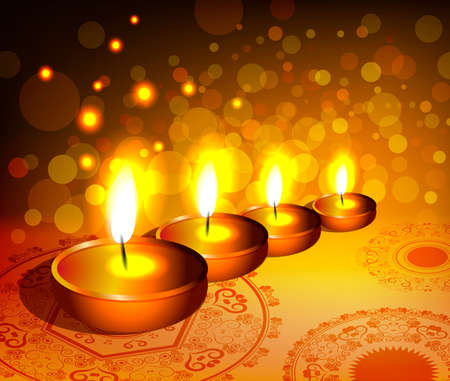 Vector religious background for diwali festival with lamps  Vector