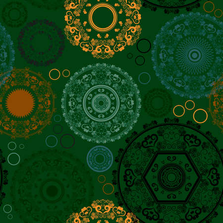 Seamless pattern with rangoli designs for DIwali festival  Vector