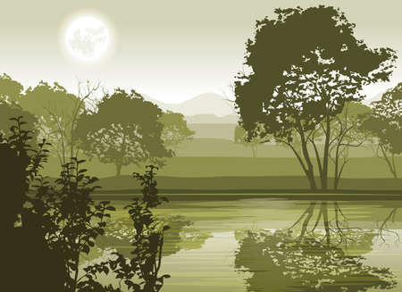 misty forest: River Landscape with Moon and Trees  Illustration