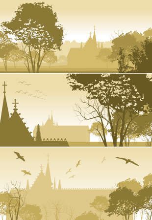 tree canopy: three illustrations of country Landscape with Church and Trees