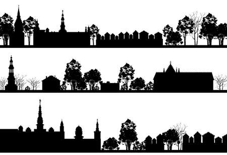 country church: Country Landscape with Church and Trees Illustration