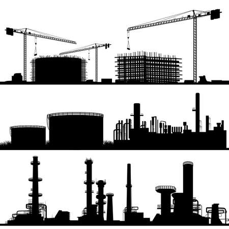 Industrial city, Construction Site, refinerie and power plant  Stock Illustratie