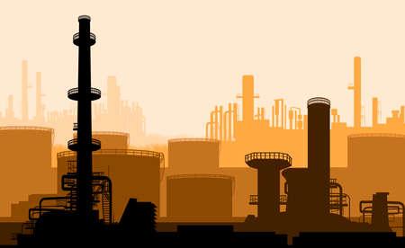 powerplant: Industriële deel van de stad, elektrische centrale Stock Illustratie
