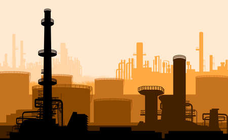 Industrial part of city, power plant  Illustration
