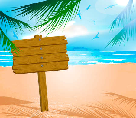 wooden signboard on idealistic tropical beach  Vector