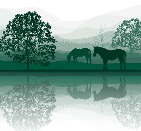 grazing: horses on a Meadow with Trees and lake  Illustration