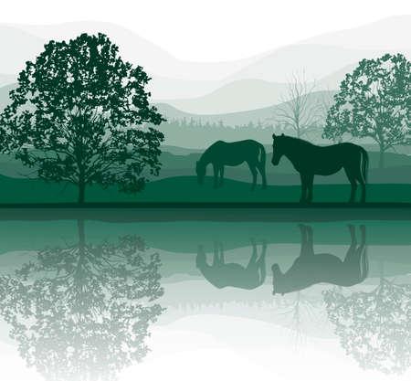 paarden op een weide met bomen en meer Stock Illustratie