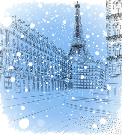 panoramic sky: Vector illustration of snowy Christmas Paris