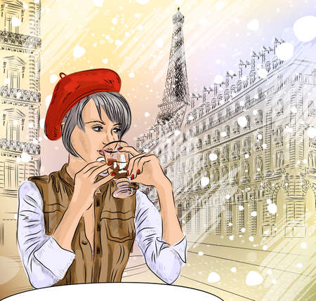 Beautiful girl in the street cafe in Paris drinking coffee  Vector