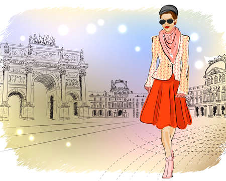 Elegant Fashion girl in Paris  Vector