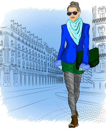 Fashion girl on the street of the old city  Vector