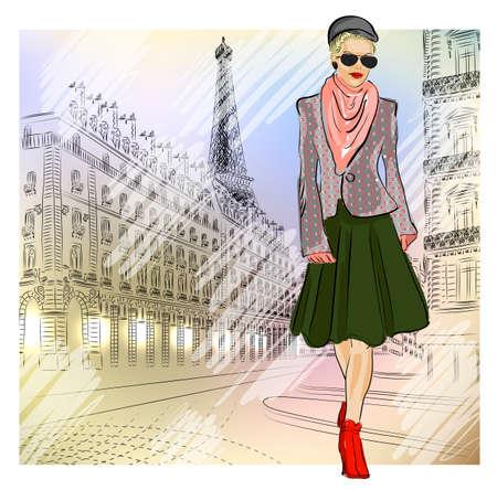 Elegant Fashion girl in sunglasses on the street in Paris  Vector
