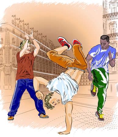 Street dancers on an abstract city background Vector