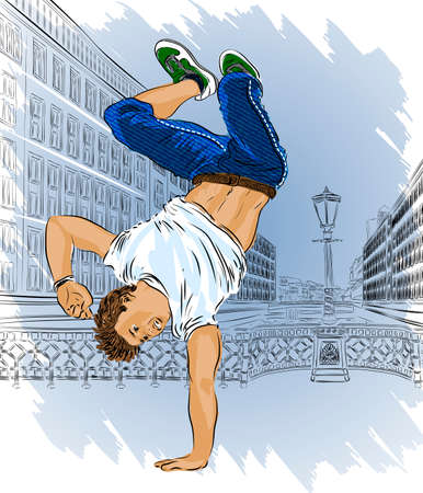 Street dancer on sity abstract background Vector