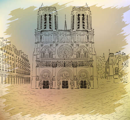 notre: Notre dame cathedral - retro styled picture Illustration