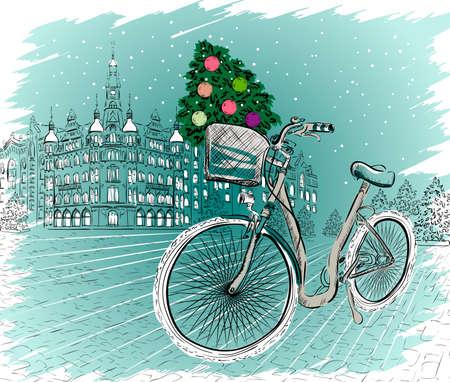 유럽: 크리스마스 트리와 크리스마스 엽서 일러스트