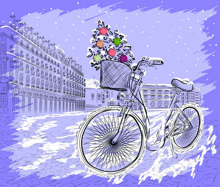 Christmas postcard with bicycle with a Christmas tree  Vector