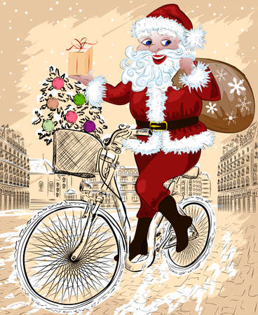 Happy Santa Claus with Christmas tree and gifts riding bike Vector