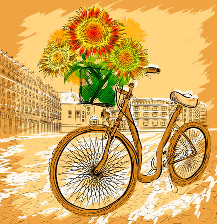 Postcard with bicycle and sunflowers 矢量图像