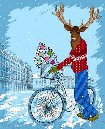 Deer on bike with christmas tree Vector