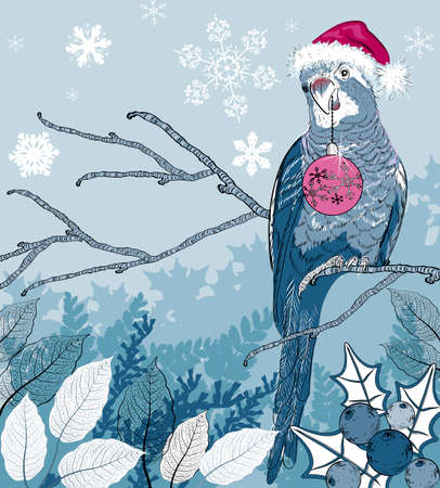 tree branch: Christmas bird with decorations on a tree branch