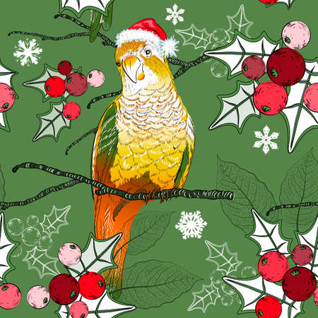 Seamless christmas pattern with parrot and christmas holly  Vector