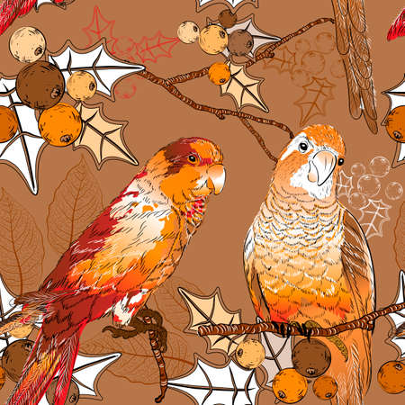 feathering: Seamless pattern with pair of budgies