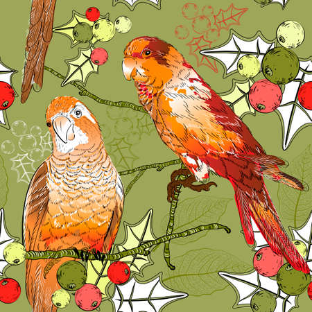 Seamless pattern with pair of budgies, plants and berries  Vector