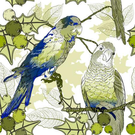 Naadloos patroon met papegaaien en bessen