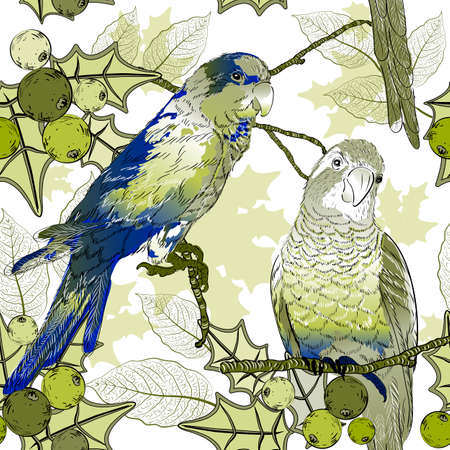 tropical flowers: Seamless pattern with parrots and berries  Illustration