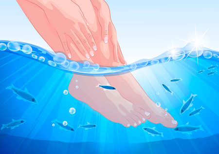 fish spa: Female feet and hands, fish spa treatment