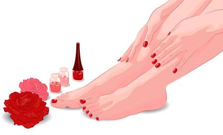 女性の足、手、マニキュアとペディキュア