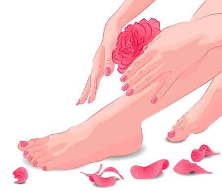 Vrouwelijke voeten en handen met roze roos en bloemblaadjes