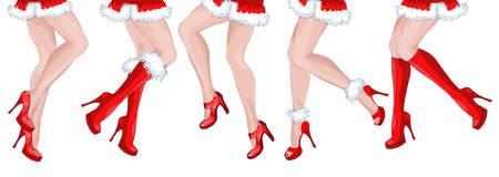 cancan: Legs of five dancing girls Santa Claus