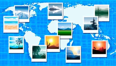 zeměpisný: Mapa světa s fotografiemi z různých geografických míst Ilustrace