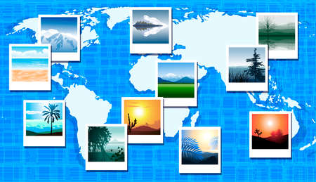 World map with photos of different geographic locations Vector