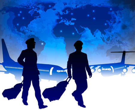 takeoff: Airline pilots with luggage in airport