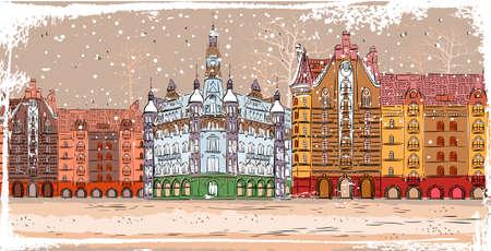 cartoon christmas city