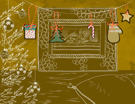 christmas room: Christmas room with fireplace and Christmas decorations  Illustration