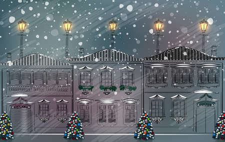 town square: Snowy old town at Christmas  Illustration