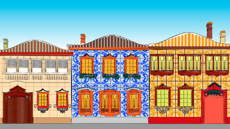 roof tiles: Vector illustration of Traditional houses in Portugal