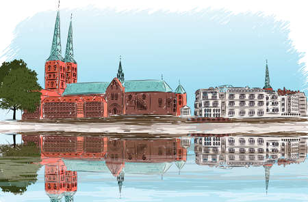 lake district: ector illustration of city landmark, Germany