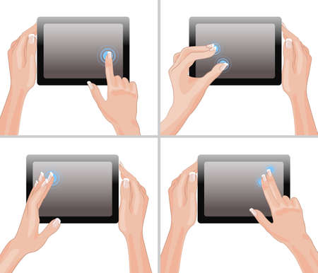 multi touch: Set of tablet screen with hands
