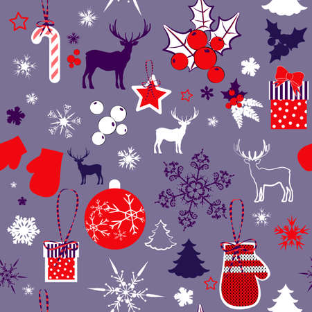 christmas elements: seamless pattern with Christmas elements  Illustration