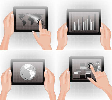 Hands holding tablet with graphs, charts, and world map  Vector