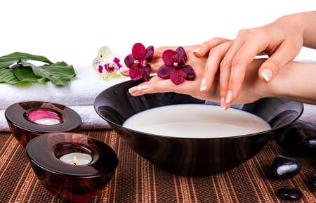Vrouw handen met orchideeën en kom melk Stockfoto - 26370777